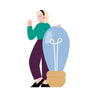 Donna con la lampadina come concetto dell'illustrazione piana di vettore di idea di affari isolata