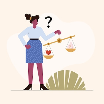 Donna con equilibrio etico negli affari