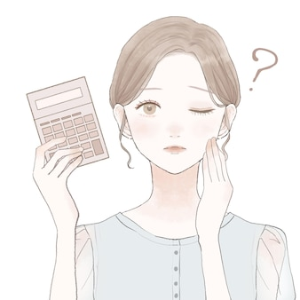 Donna con calcolatrice, interrogatorio. su uno sfondo bianco.