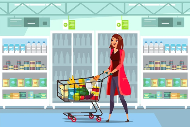 Donna con carrello in supermercato con carrello pieno di cibo sano