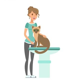 Donna con il gatto nell'illustrazione piana della clinica del veterinario Vettore Premium