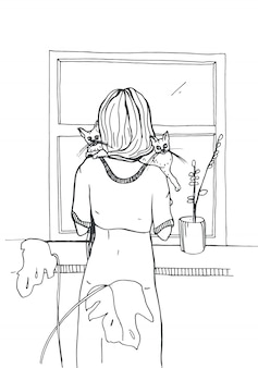 Donna con i gatti che stanno vicino alla finestra. illustrazione disegnata a mano su sfondo bianco.