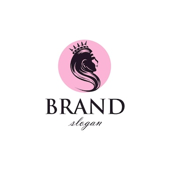Donna con corona, logo beauty business in semplice stile vintage.