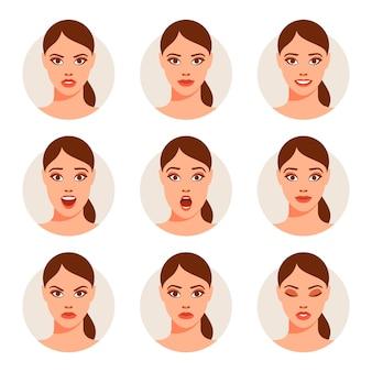 Donna con differenti espressioni facciali messe