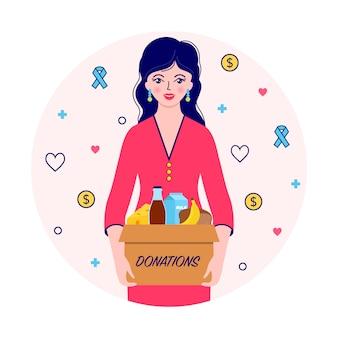 Donna con scatola per donazioni Vettore Premium