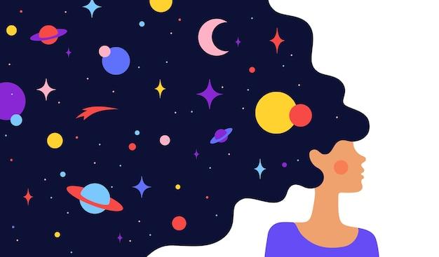 Donna con universo da sogno. carattere semplice di donna ragazza con la notte stellata dell'universo nei capelli