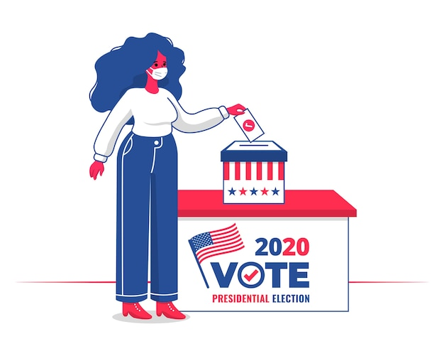 Donna con maschera facciale che vota in un'urna per le elezioni presidenziali usa del 2020 con design piatto