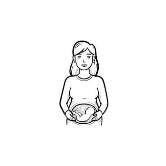 Icona di doodle di contorno disegnato a mano di una donna con un feto nell'utero