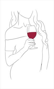 Donna con un bicchiere di vino