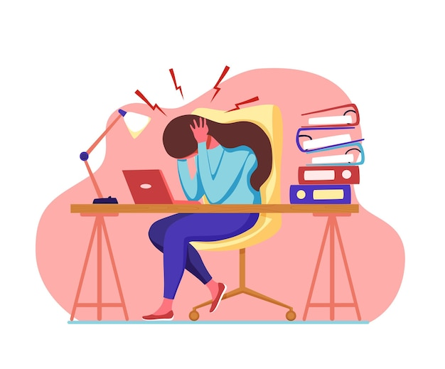Donna con mal di testa emicrania che tiene la testa fumetto illustrazione vettoriale stressato infelice sconvolto