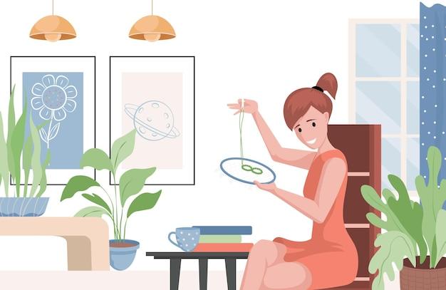 Donna con disegno dell'illustrazione di cucito dell'ago e del cerchio