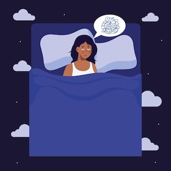 Donna con insonnia nel tema del design, del sonno e della notte del letto.