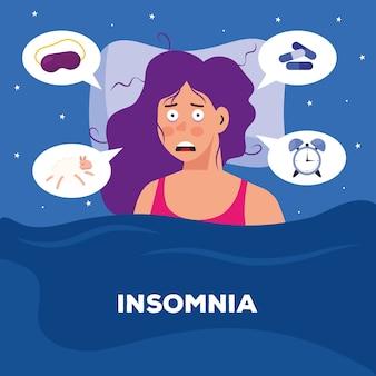 Donna con insonnia e design di bolle, tema del sonno e della notte.