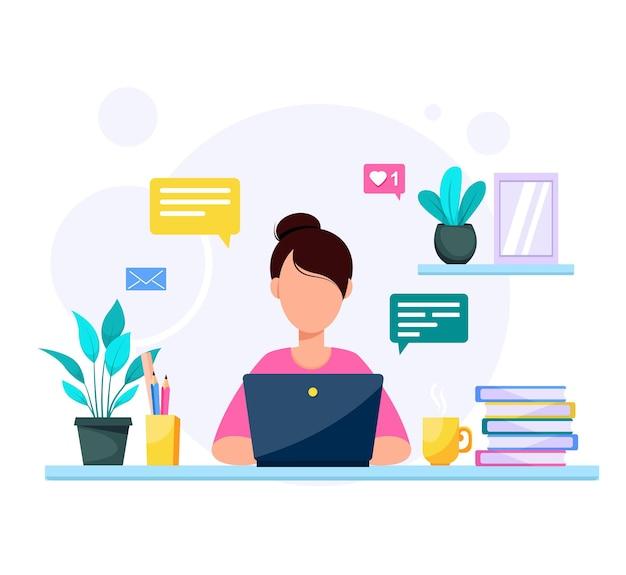 Donna con istruzione portatile o concetto di lavoro