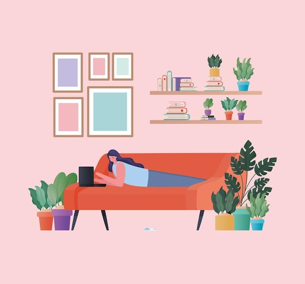 Donna con il computer portatile che lavora sull'arancio, disegno del divano del tema del lavoro da casa