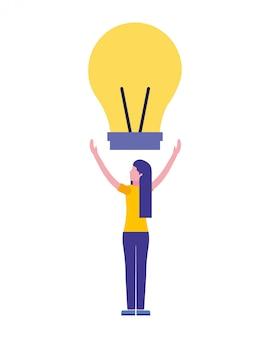 Donna con creatività lampadina