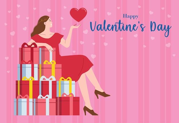 Una donna con i capelli lunghi è seduta su una pila di regali di san valentino
