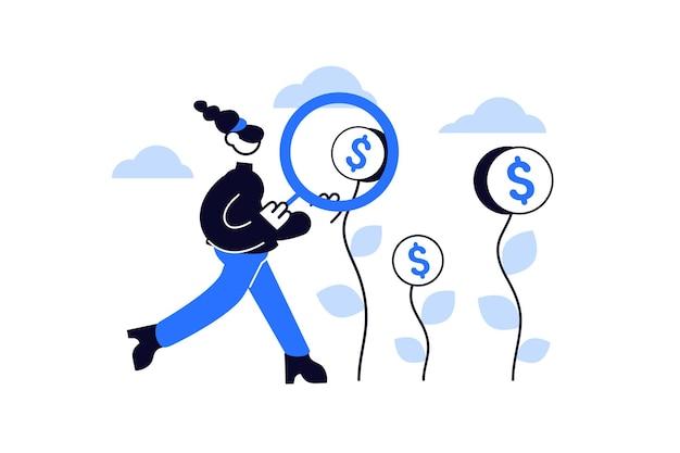 Donna con lente d'ingrandimento in cerca di soldi per la donazione