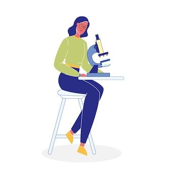 Donna con l'illustrazione piana di vettore del microscopio