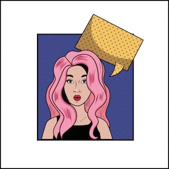 Donna con capelli rosa e stile fumetto pop art