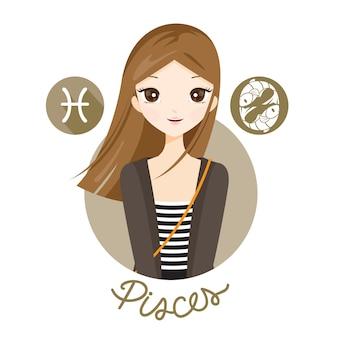 Donna con il segno zodiacale dei pesci