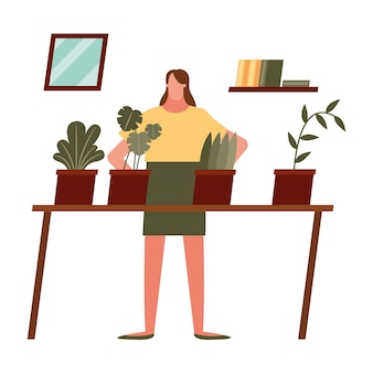 Donna con piante a casa design del tema attività e tempo libero.