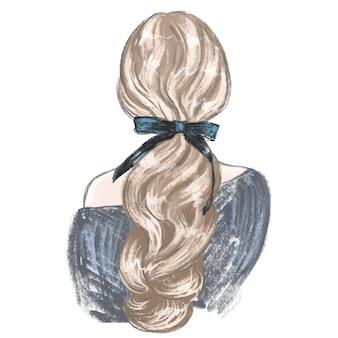 Donna con coda di cavallo e un fiocco bella acconciatura illustrazione di moda disegnata a mano