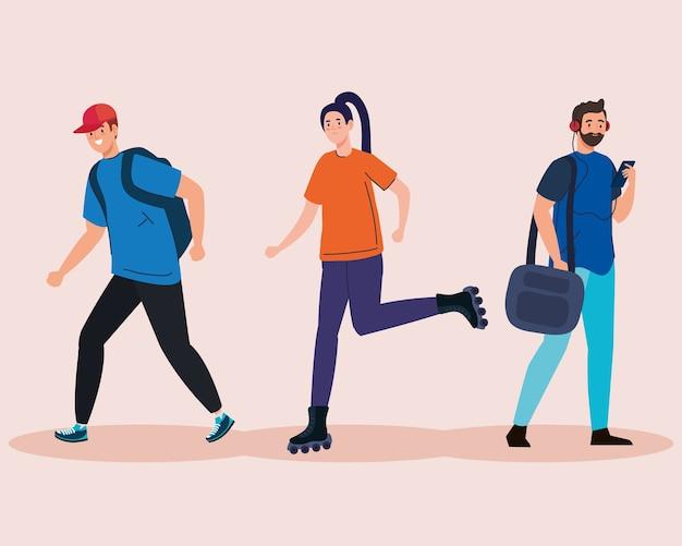 Donna con pattini a rotelle e studenti uomini con design di borse, istruzione universitaria e tema scolastico