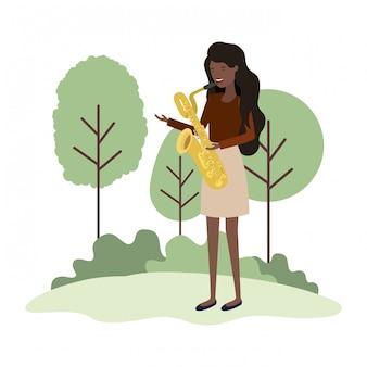 Donna con sassofono in carattere avatar paesaggio