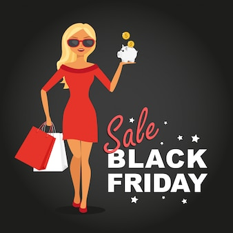 Donna con borse della spesa, vendita black friday