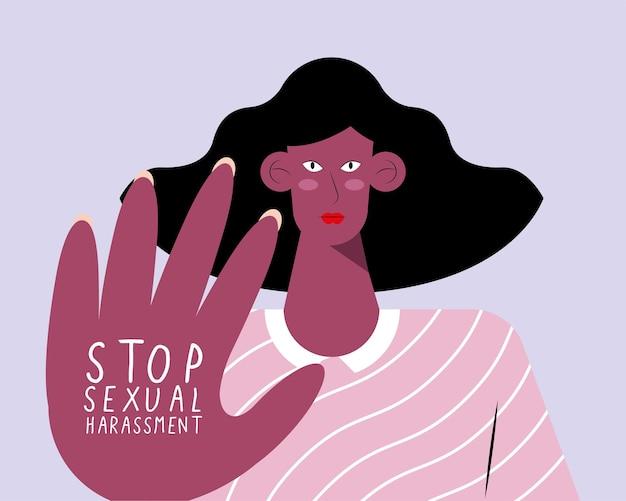 Donna con messaggio di stop alle molestie sessuali