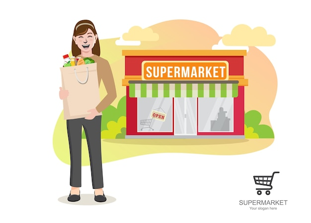 Donna con la spesa del supermercato, giovane donna che trasporta il fumetto del sacchetto della spesa di carta