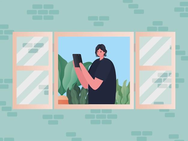 Donna con la tavoletta che lavora alla progettazione della finestra del tema del lavoro da casa