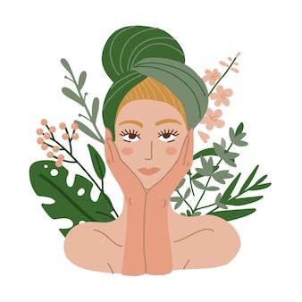 Donna con un asciugamano in testa. procedura cosmetica organtica. piante e foglie. illustrazione piatta.