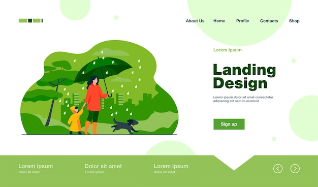 Donna con ombrello, ragazza in impermeabile e cane che cammina sotto la pioggia nel parco cittadino. pagina di destinazione in stile piatto.