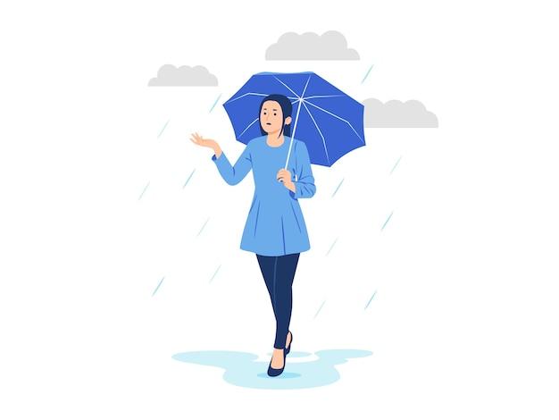 Donna con l'ombrello nell'illustrazione del concetto di pioggia
