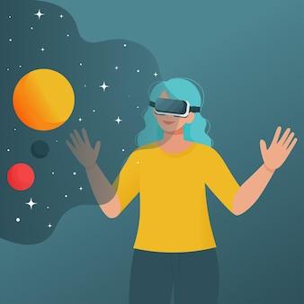 Donna con occhiali per realtà virtuale vedendo il cosmo. illustrazione in stile piatto