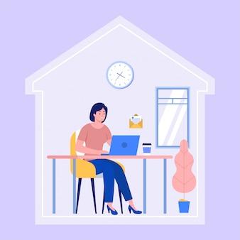 La donna lavora da casa durante la pandemia 19 per prevenire la diffusione di virus, concetto di illustrazione di autoisolamento,