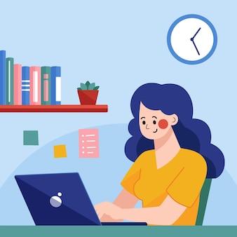 La donna lavora con il laptop