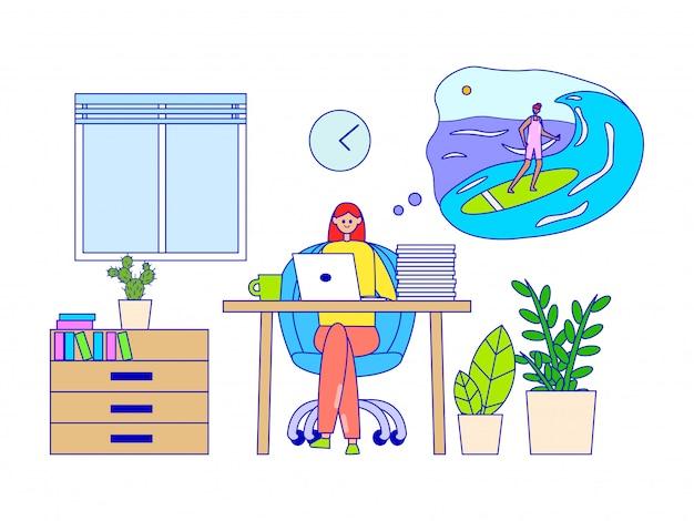 Donna che lavora e che sogna delle vacanze estive, illustrazione. personaggio fantasy surf in mare in nuvoletta.