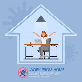 La donna che lavora da casa, ferma il coronavirus, il concetto di carattere sociale di allontanamento