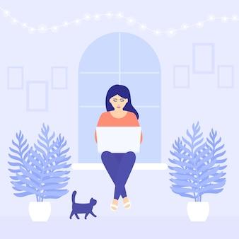 Donna che lavora a casa, seduta alla finestra, autoisolamento