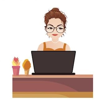 Donna che lavora all'illustrazione di vettore del computer portatile