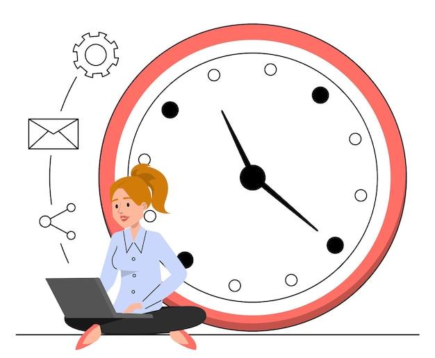 Donna che lavora seduta al grande orologio