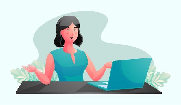 Una donna che lavora a una scrivania