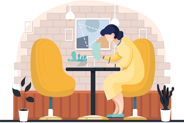 Donna in abito giallo seduto a un tavolo in soggiorno o bar scrivendo diario o diario, leggendo un libro e prendendo appunti con la matita. illustrazione per giornale, autore, studente, imprenditrice