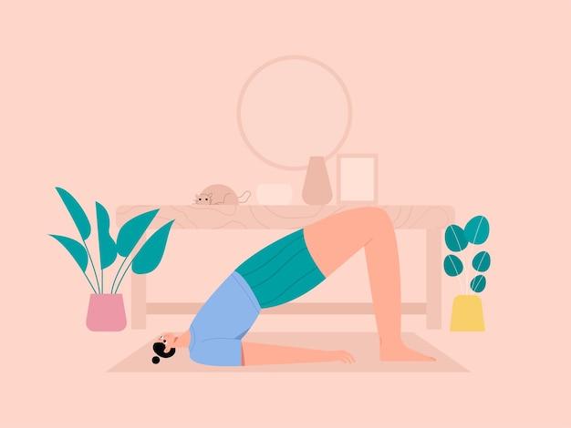 Donna yoga bridge pone illustrazione