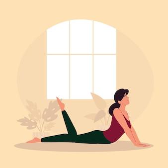 Donna in posa yoga a casa