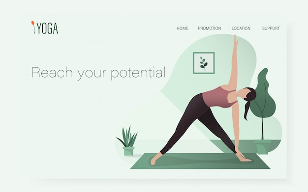 Una donna nella posizione di posa yoga nel modello di sito web ui / ux. / sport sano a casa