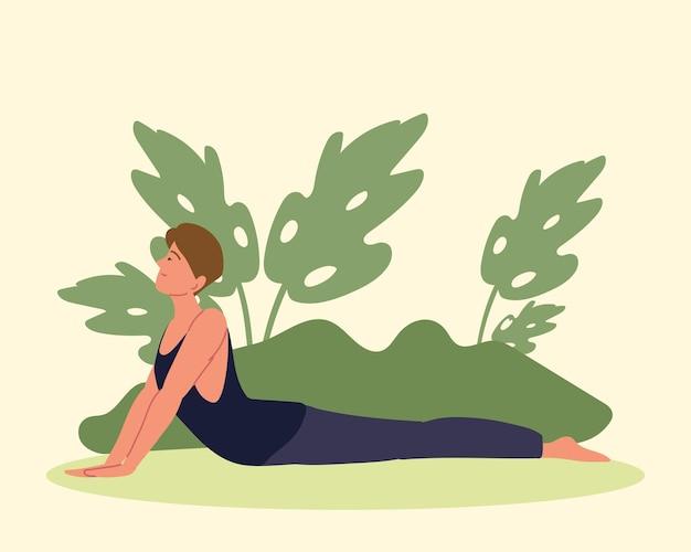 Donna in posizione yoga